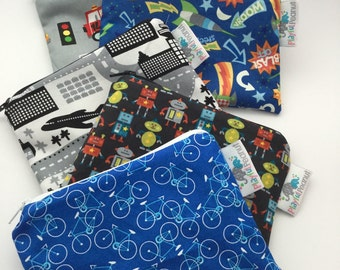 Reusable Snack Bag, Reusable Zipper Bag, Reusable Sandwich Bag, Zipper Pouch, Reusable, Bikes Snack Bag, Lunch Bag, Reusable Bag, Car Bag