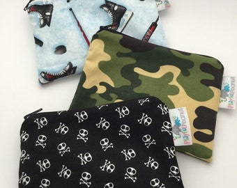 Reusable Machine Washable Zippered BPA-Free Snack-Loc Large Sandwich Small Snack Bag - Hockey Sport Skate Camo Hunting Skulls Pirates Cross