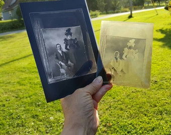 Antique Glass Plate Negative and Negative Print of Handsome Young Victorian Couple from Rustysecrets