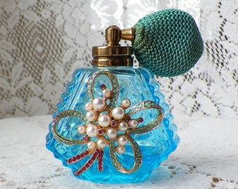 Vintage Jewelry Embellished Aqua Blue Perfume Bottle, Pearls, Pink Rhinestones, Turquoise Bulb, Shabby Cottage Bedroom / Bathroom Home Decor