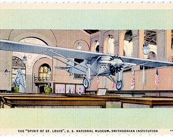 Washington DC Vintage Postcard - The Spirit of St. Louis at the Smithsonian (Unused)