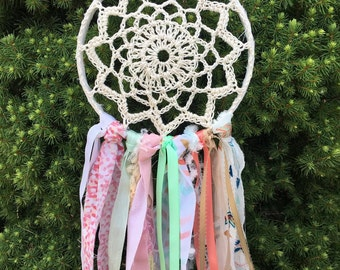 """Dream Catcher, Boho style Coral and Aqua dreamcatcher 6"""" handmade Baby Shower Decoration or Room Decor.  CUSTOM COLORS also available"""