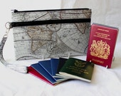 Family Passport Holder - Travel Document Organzier - Multiple Passport Holder - Large Travel Wallet - Unisex World Map passport carrier