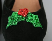 Christmas Holly Glitter shoe clips - fun shoe accessories - glitter holly - shoe accessory - christmas shoes