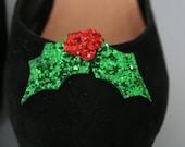 Christmas Holly Glitter shoe clips - fun shoe accessories - glitter holly - shoe accessory - christmas shoes