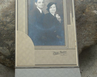 Vintage art deco parlor photo of young couple by Dixie Studios in Olean NY