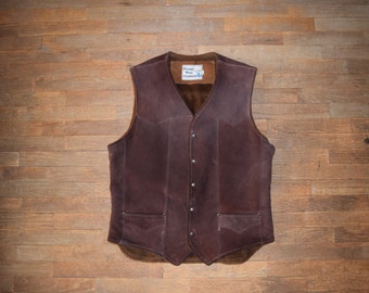 Vintage Genuine Leather Pioneer Wear Western Biker Style Vest Size 42 Large