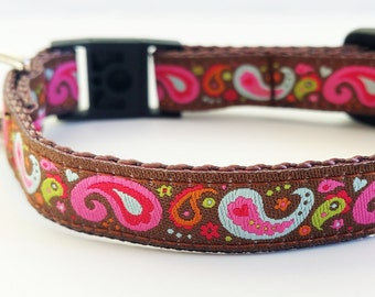 Cat Collar / Dog Collar / Teacup / Kitty Cat / Puppy / 1/2 Inch Width / Breakaway Buckle / Paisley / Handmade / Adustable / Small Dog