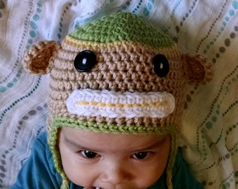 ON SALE Baby Monkey Hat, Crochet Baby Monkey Hat, Baby Animal Hat