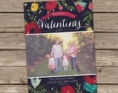 Photo Valentine's Day Card : Floral Modern Valentine's Day Custom Photo Holiday Card Printable