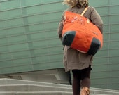 XXL Handprinted Orange Canvas Tote Bag Weekender // Upcycled by peace4you, GERMANY // Model pauline-2128XXL