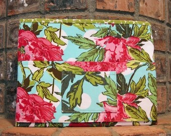 Pink Peonies Magazine & Tract Bag, Tablet Sleeve, With Contact Card Pocket