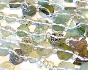 Ancient roman thin glass beads whole strand petite light weight disks