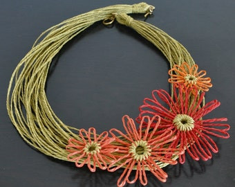 Summer - Heat - Handmade Loom Flower Multistrand Choker