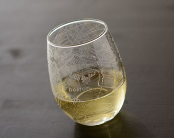 Boston Maps Stemless Wine Glass