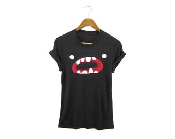 Om Nom Tee - Boyfriend Fit Crew Neck T-shirt with Rolled Cuffs in Heather Black and White - Women's Size S-4XL