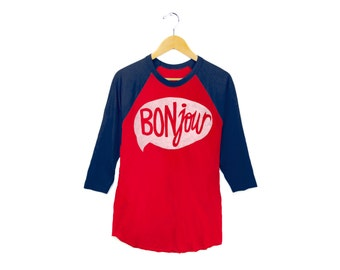 Bonjour Raglan Tee - 3/4 Sleeve Boyfriend Fit Crew Neck Raglan Tshirt in Red and Navy Blue - Women's S-2XL