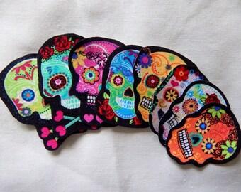 Dia de Los Muertos Sugar Skull Fabric Iron On Appliques