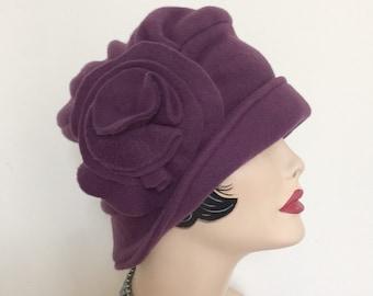 Winter Cloche - Eggplant Cloche - Fleece Cloche - Flapper Style Cloche - Downton Cloche - Warm Winter Cloche - Hats For Hair Loss - Handmade