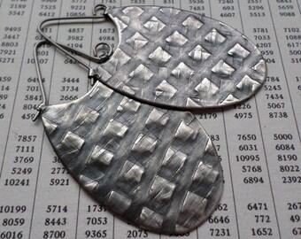 Sterling Silver Hoop Earrings, Sculptural Oval Sterling Hoop, Large Modern Contemporary Urban Handwrought Silversmith Textural Artisan Hoops