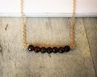 Garnet Necklace, Gemstone Bar, Red Necklace, Gold Necklace, Gemstone Necklace,  January Birthstone