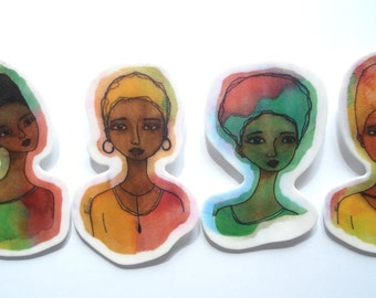 Set of 4 Large African American Brooches