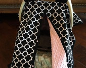 Super Cute Baby Car Seat Covers - BLACK Quatrefoil and Blush Pink Minky - Bows Incl - Baby Girl - Shower Gift