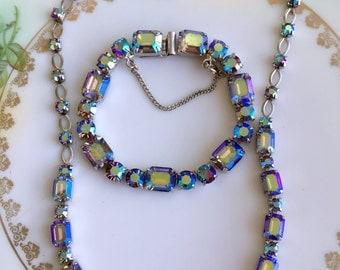 Vintage AB Blue Rhinestone Necklace Choker and bracelet set