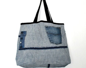 CLEARENCE SALE Large Tote Bag- No.9- Patchwork- Cotton-Jean