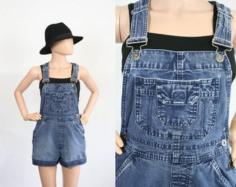 Vintage 90s Denim Overalls / 1990s Blue Jean Jumper / Bib Romper Shorts / Grunge / Distressed Carpenter Cargo Pants / Extra Small / Small