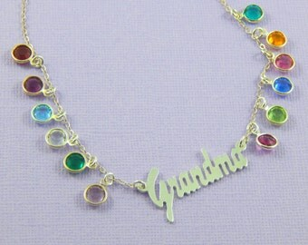 Birthstone Necklace, Grandmother's Necklace, Sterling Silver