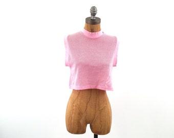 vintage 80s jersey MESH pink CROP top S-M
