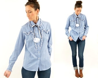 vintage 70s ROCKMOUNT ranch wear WESTERN chambray shirt M