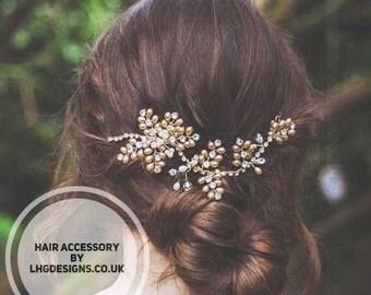 Bridal headpiece, bridal hair accessories. Pearl gold hair vine, bridal hair comb, bridal hair accessory gold, boho