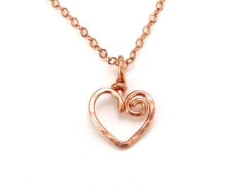 Rose Gold Heart Necklace. Hand Hammered Swirly Heart Necklace