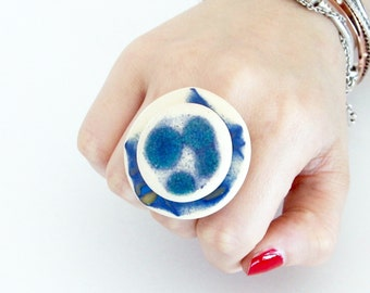 Beach Pottery Statement Ring  - fall fashion, cocktail ring, handmade ring, beach ring , statement ring, handmade by StudioLeanne, 1.7 inch