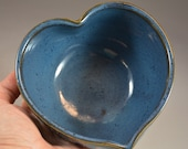 Textured Heart Shaped Wheel Thrown Bowl in Croc Blue Glaze- ready to ship in time for Valentines Day!