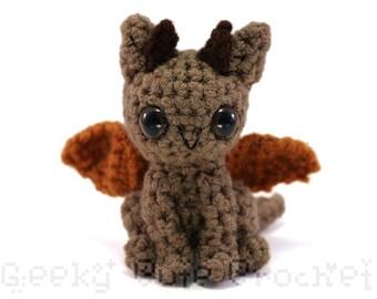 Dragon Amigurumi Crocheted Toy Plush Brown Fantasy