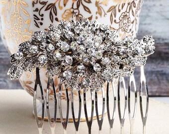 Rhinestone Hair Comb Bridal Vintage Style Art Deco Downton Abby Victorian Wedding