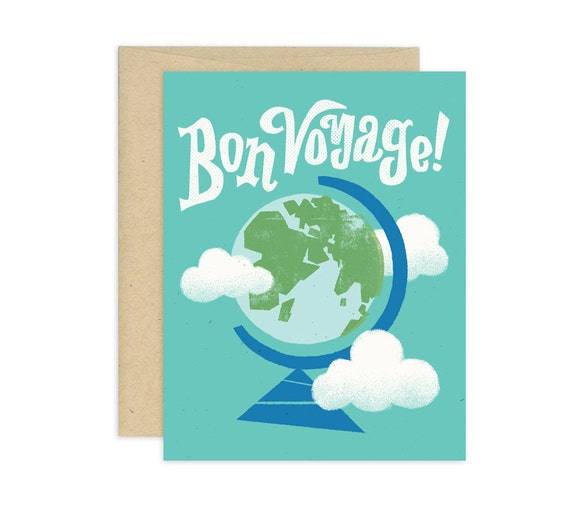 Bon Voyage Illustrated Greeting Card