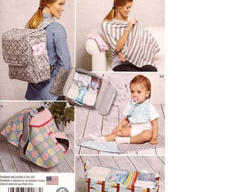Simplicity 1177  Diaper, Backpack, Carrier, Tent, Organizer, Play Mat, Burp Cloth,Baby Shawl Pattern  and More New - Uncut