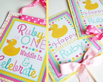 Girl Rubber Duck Birthday Party Decorations Fully Assembled