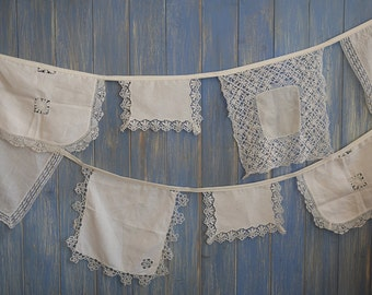 Vintage Linen Bunting. Wedding Bunting. This piece has been made from some lovely Off White pieces of vintage linens and is 4m long.