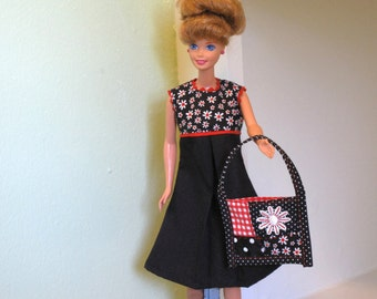 Barbie Black Daisy Dress - Pop Art Style Barbie Black White Clothes- Tent Dress & Large Daisy Tote Bag Polka Dots Red Handmade