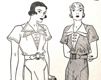 1930s Pictorial Review Printed 6987 40s  Dress Pattern  Deep V Vestee Finished with Double Revers  Bust 38  Hip 41