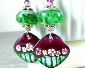 Aubergine Floral Enamel Dangle Earrings, Purple Green White Glass & Enameled Copper Earrings, Boro Lampwork Earrings Boho Chic Jewelry