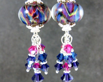 Boho Chic Earrings, Colorful Glass & Crystal Dangle Earrings, Purple Blue Pink Yellow Boro Lampwork Earrings, Sterling Silver Earrings, Boho
