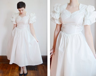 As Is Late 1940s Wedding Dress with Puff Sleeves - XS/S