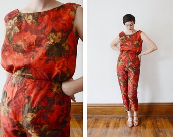 1960s Red Floral Top and Pants Set - S/M
