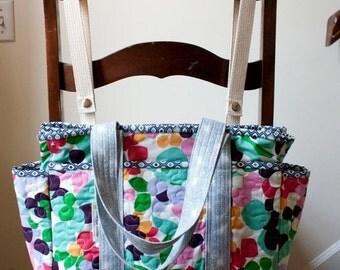 black friday 20% off // quilted diaper bag // floral shoulder bag // girls diaper bag // READY TO SHIP
